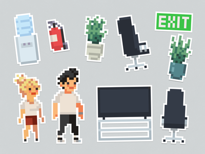office • pixel art • sticker pack print art pixel illustration sign cooler water chair fire extinguisher board tv character exit plants office pack sticker
