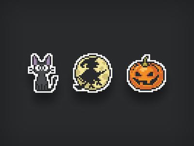 halloween • pixel art • stickers black jiji kitty fly witch moon kiki cat pumpkin halloween pack sticker illustration