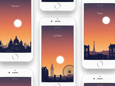 Sleep City Alarm Themes gradient tower eiffel city time sunset sun silhouette venice paris eye london