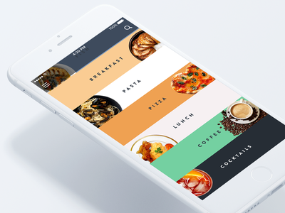 Restaurant-booking app color coffee pasta pizza business lunch fish list order booking restaurants cocktails