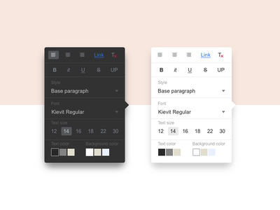 Rich Text Popup choose typo minimal color size font style popup ux ui rich text content editor
