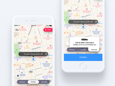 Order taxi app economy business fast ux ui popup map driver ride comfort order taxi