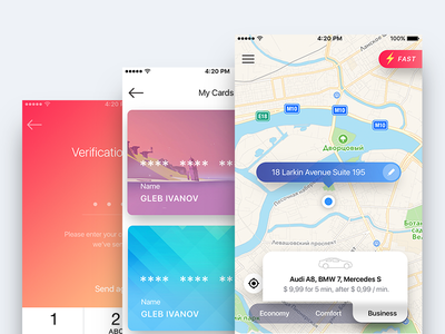 Taxi color scheme code cards economy business ui popup map driver ride comfort order taxi