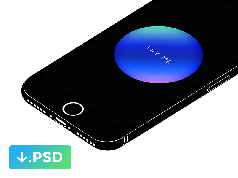 iPhone 7 minimal isometric mockup free psd white black mockup isometric minimal iphone 7 psd free