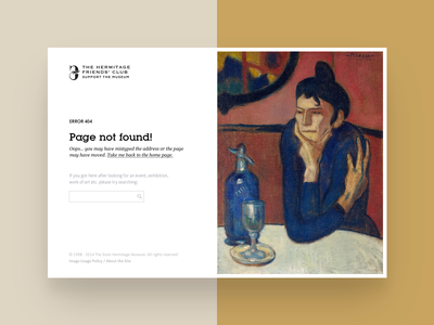 404 page of the Hermitage Friends Club search minimal club support hermitage picasso not found site error bug page 404