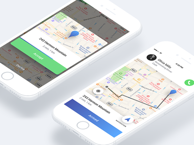 Taxi order address navigation car driver decline popup map ride route accept order taxi