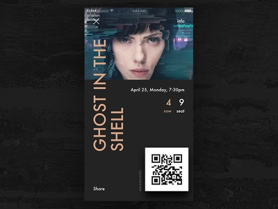 Ticket cinema poster qr seat row ticket movie scarlett shell ghost