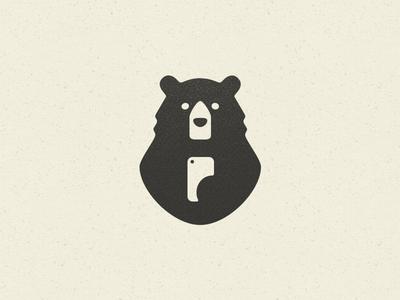 Smart Bear minimal mascot bear selfie phone