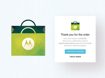 Order purchase success motorola moto bag illustration