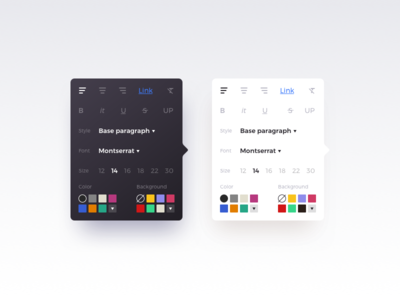 Rich Text Popup 2 choose color content editor font minimal popup rich text size style typo ui ux