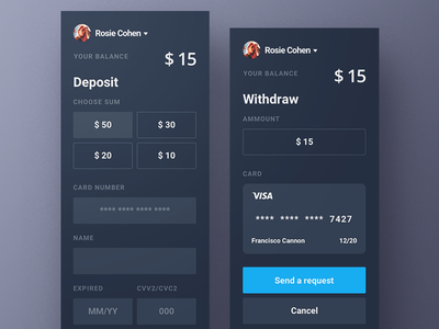 Deposit money balance form amount sum card visa withdraw deposit buy dark trade