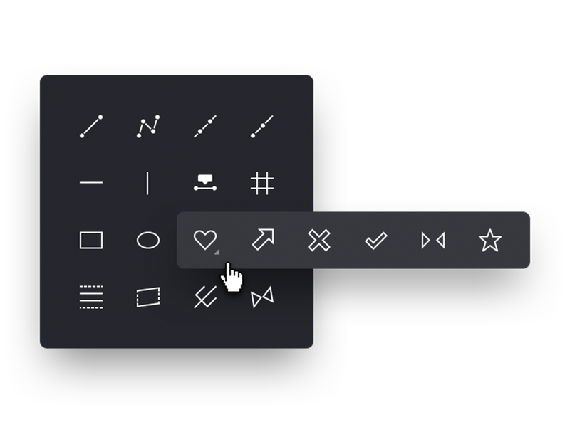 Set of icons tools popup set graphic instruments icons