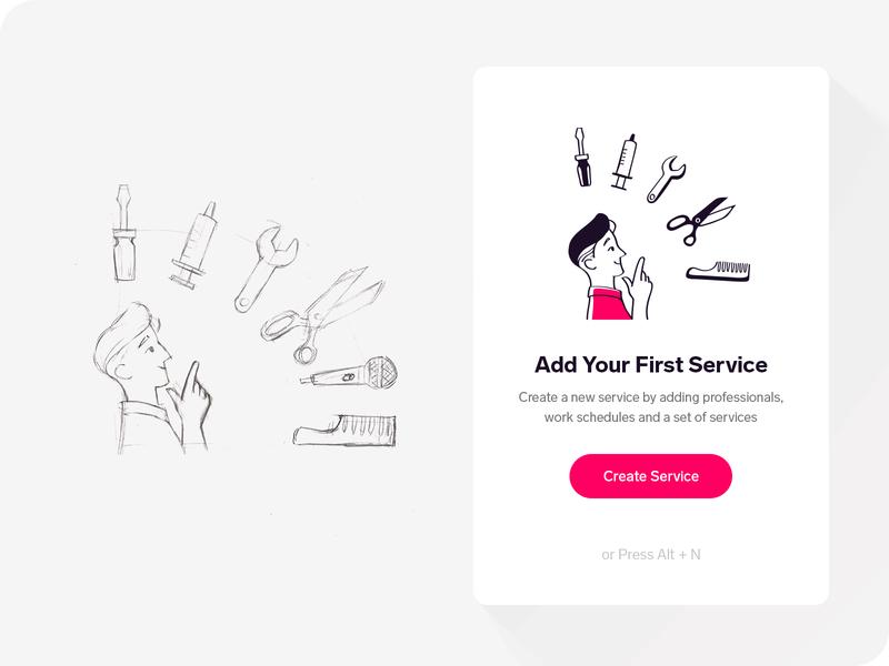 Add New Service man modal create choose screwdriver wrench syringe sketch hairbrush scissors new add service