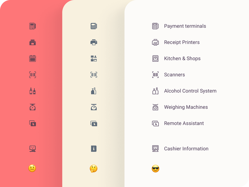 Settings icons bottle cashier kitchen printer stroke work process how redesign facelift set payment settings icons