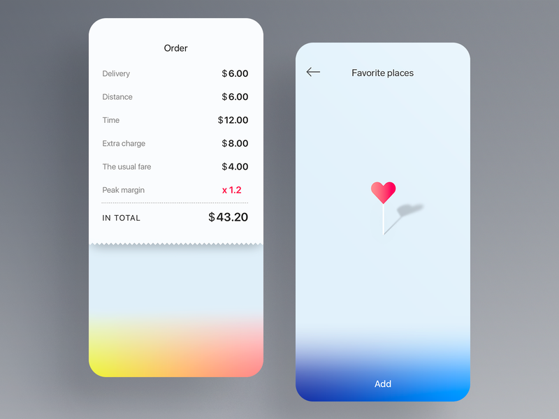 Order & Favorite gradient pin heart app list state empty places favorite order taxi