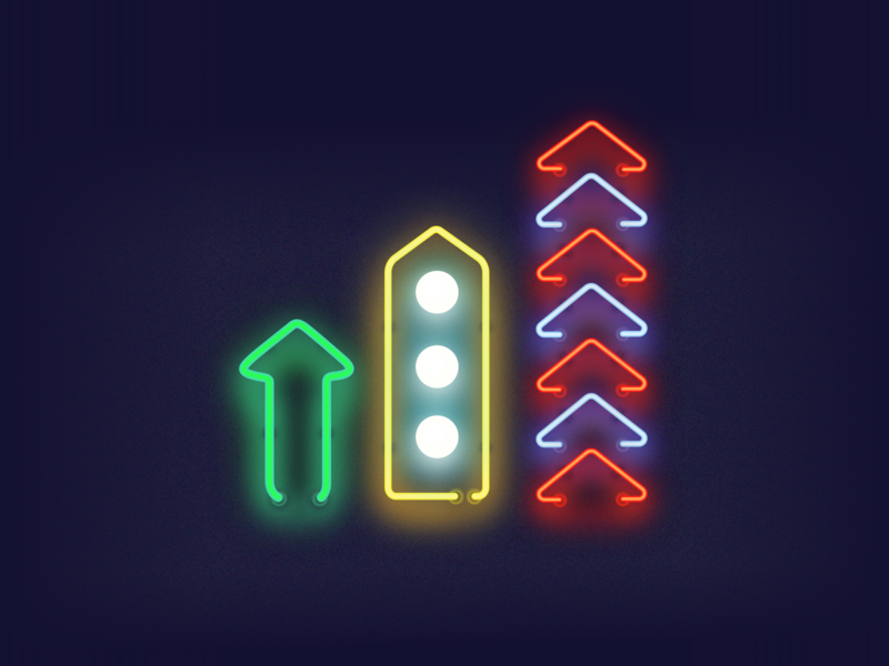 Neon Arrows effect sketch freebie bulb colors dark illustration glow light arrow neon