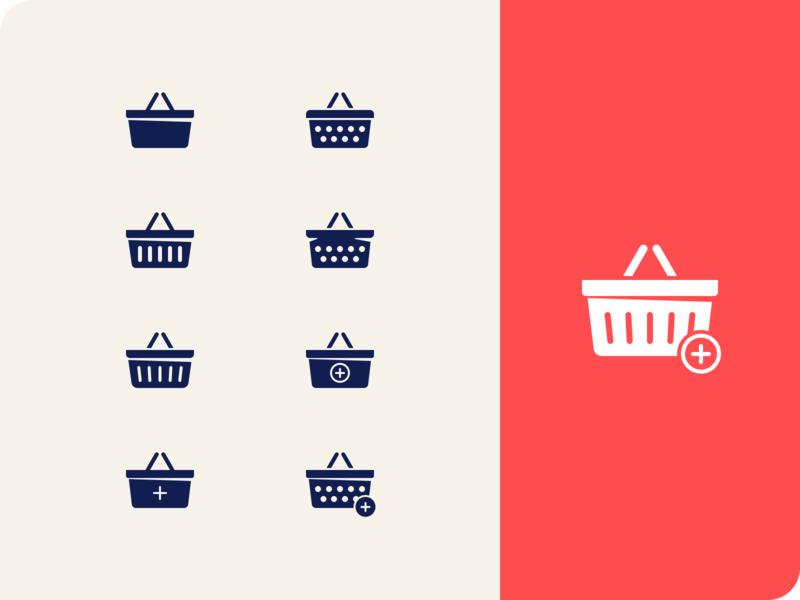 Shopping basket product goods retail add market grocery cart basket shop icons
