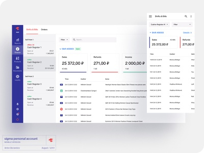 mobile version of sigma minimal product informer select navigation table interface account personal responsive version adaptive redesign mobile web