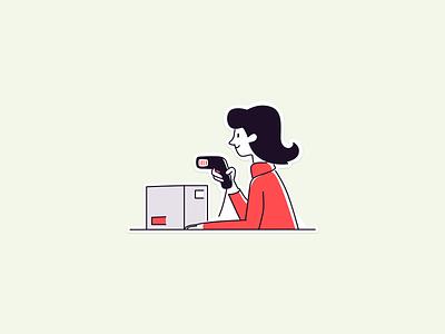 Scan illustration art picture illustration sketch girl woman box retail pos label marking scan scanner