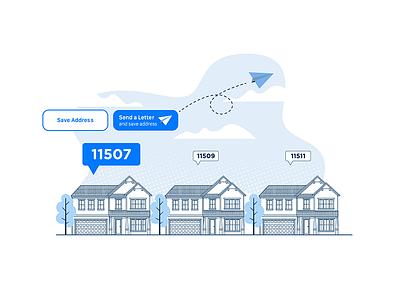 Send a Letter/Save Address clean illustrator 2d animation ux branding app vector ui design illustration