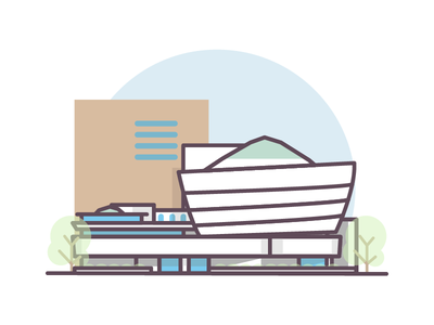 Guggenheim NY architecture new york clean illustrator 2d flat branding icon vector design logo illustration