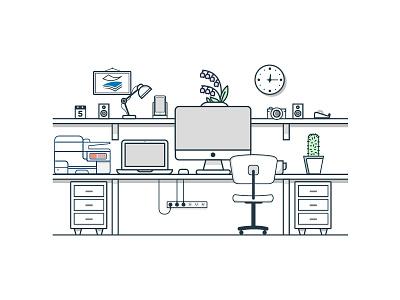 Office Setting 01 paperstac illustrator 2d flat branding vector icon ui design illustration