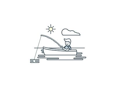 Fisherman paperstac illustrator 2d flat branding vector icon ui design illustration