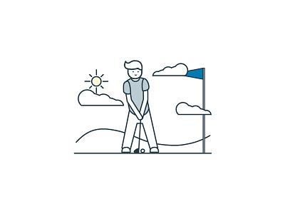 Golfer paperstac illustrator 2d flat branding vector icon ui design illustration