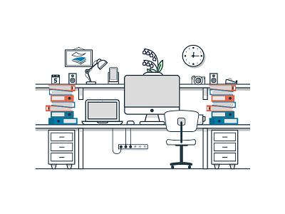 Office 2 paperstac illustrator 2d flat branding vector icon ui design illustration