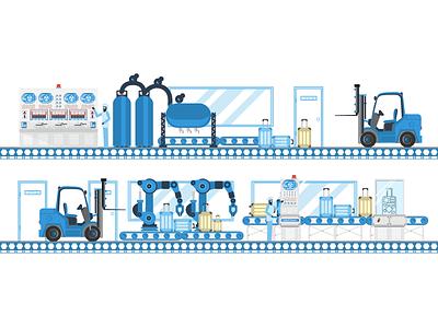 Wacky Factory - pt 1 conveyer computers factory character 2d design flat illustration illustrator vector