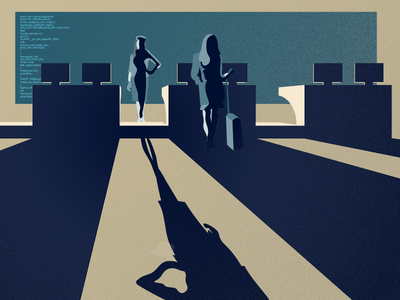 Video Wall Campaign Illo code passenger illustrator wall video airport shadows 2d vector illustration