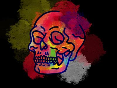 1/260 - Gouache Skull rainbow paint skull applepencil ipad pro procreate