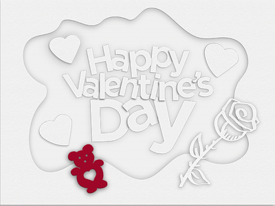 Happy Valentines Day 2d vlentines bears hearts rose illustration papercut