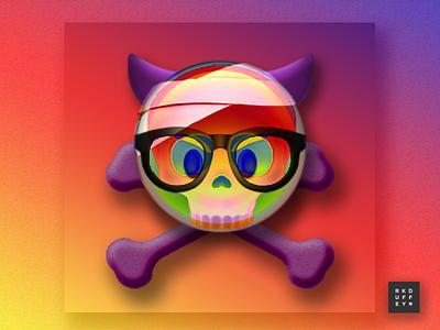 6/260 Xray Emoji drop shadow composition design rainbow blend devil skulls photoshop emoji