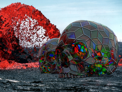 08/260 - Kaleidoscope Skulls kaleidoscope skulls lava art adobe project felix app design photo realistic 3d