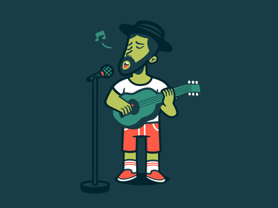 Open Mic Night music musician vectorart art vector performance perform performer character character design singer singing illustration player play playing guitar night mic open
