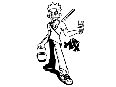 Max (Original Comic Book Character) paintbrush painter zionstrides strides zion vector lineart vectorart digitalart digital artwork art characterdesign design character comics book comicbook comic max