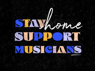 Stay Home hand music design line drawing brush illustration
