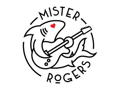 Mister Rogers line minimal round circle music guitar shark studio record logotype logo