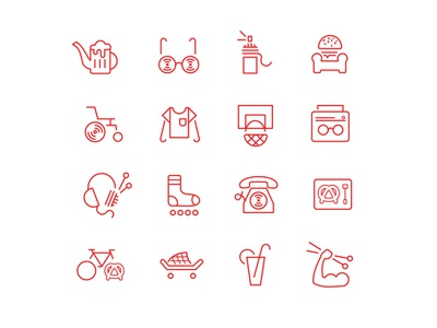 Senescence x Youth sock drink dj telephone phone music boombox beer burger couch eyeglasses bike skate graffiti street culture red line icon set icon icons