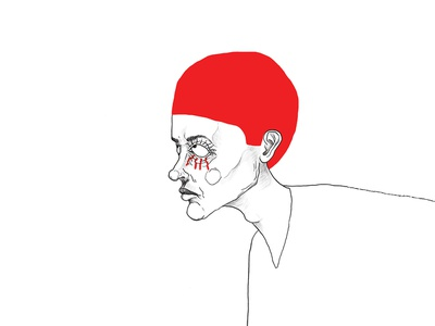 Red face eyes red line drawing man illustration