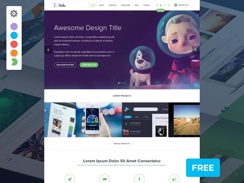 Baka premium psd theme for free