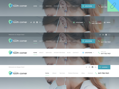 Tooth Corner Website Header Design Variation social icons design website menu navigation header tooth dental
