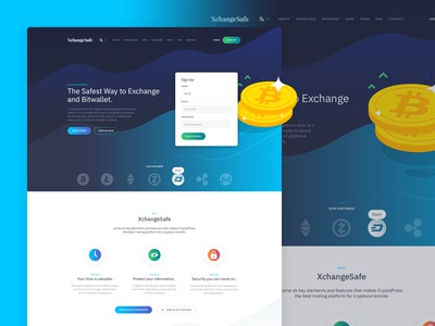 Xchangesafe theme parallax scrolling themeforest web crypto wallet crypto currency bitcoin blockchain coin illustration icon design