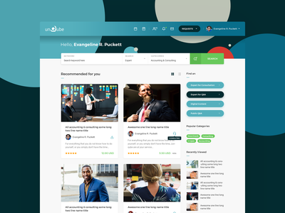 Unqube - User Logged In dashboard website redesign unqube expert advice marketplace web icon ui icons get answers