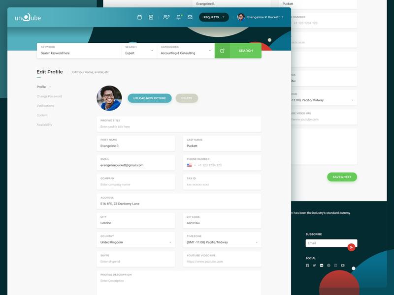 Unqube - Edit Profile user profile icons ui icon web marketplace advice expert unqube redesign website edit profile
