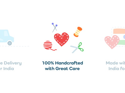 100% Handcrafted With Great Care webdesign icon design soft fabric sewing kids children illustraion handcrafted fun love psd icons icon