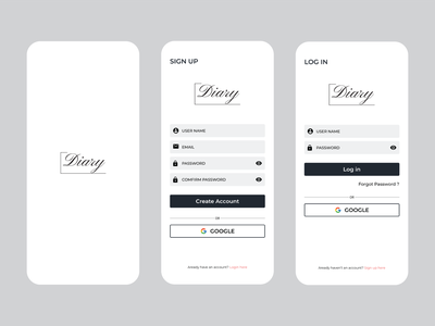 Log in/Sign up- Diary App | 001 DailyUI register sign up log in design app ux diary dailyui ui