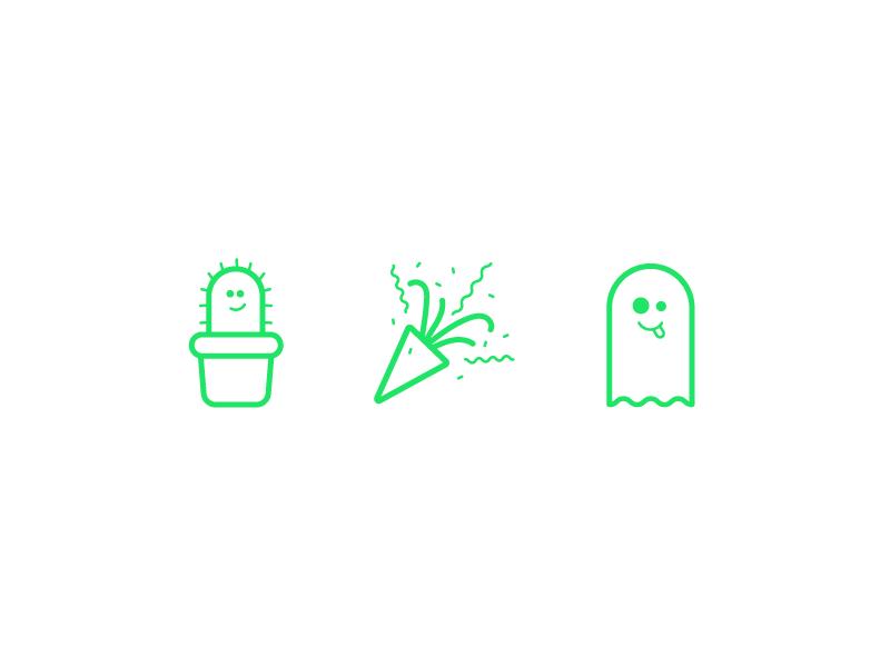 Friendly Emojis line art emoticons ghost tada cactus illustration icons friendly design hour emojis emoji brand