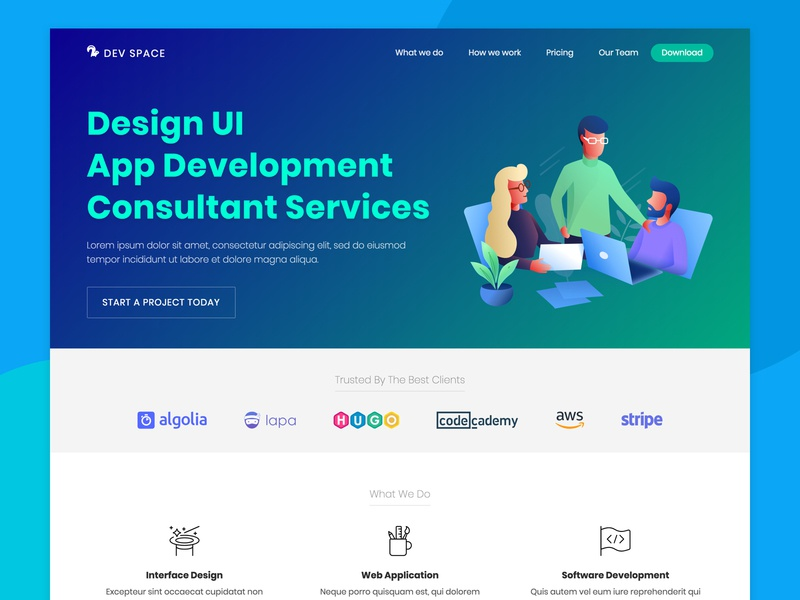 Dev Space - Free landing page for your Startup landing page